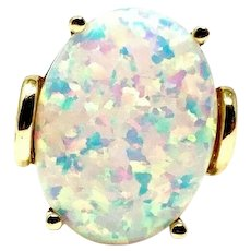 14k Yellow Gold 5.5ct Oval Cut Fire Opal Ring Size 7