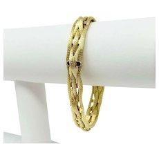 18k Fine Yellow Gold 19.8g Mesh Weave Flex Fancy Bracelet Italy 7.5 Inches