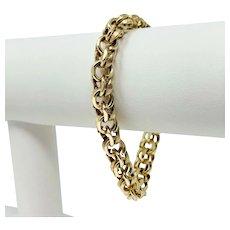 """14k Yellow Gold 31.4g Polished & Brushed Links Double Circle Charm Bracelet 7.5"""""""