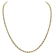14k Yellow Gold 16.3g Solid 3mm Rope Chain Necklace 20.5 Inches