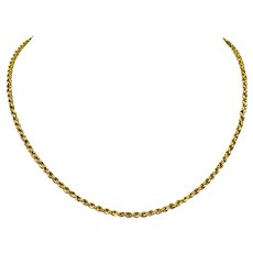 14k Yellow Gold Solid Diamond Cut 2.5mm Rope Chain Necklace Italy 16.5 Inches