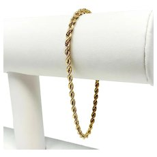14k Solid Yellow Gold 3.5mm Rope Chain Link Bracelet 8 Inches
