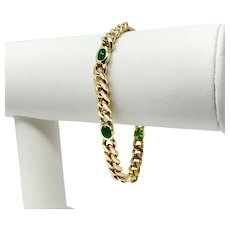 18k Yellow Gold and Oval Cabochon Cut Natural Emerald Curb Link Bracelet 7""