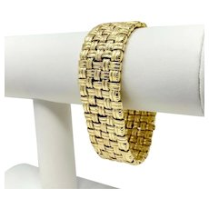 14k Yellow Gold 39.6g Mesh Weave 22mm Wide Textured Bracelet 7.25 Inches