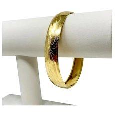 """18k Yellow Gold Vintage Etched Floral Designer Bangle Bracelet Italy 7.75"""""""