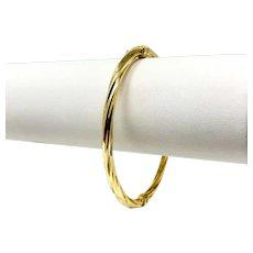 """18k Yellow Gold Designer Milor Twisted Polished Bangle Bracelet Italy 7"""""""
