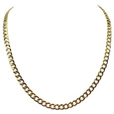 14k Yellow Gold Designer Milor Hollow 6.5mm Curb Chain Necklace Italy 20""
