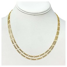 14k Yellow Gold Long 3mm Figaro Link Chain Necklace Italy 36 Inches