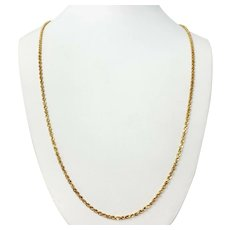 14k Yellow Gold 11.9g Solid Diamond Cut 2mm Rope Chain Necklace 30 Inches