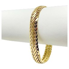 14k Yellow Gold Flat Interlocking Curb Link Chain Bracelet Italy 7 Inches