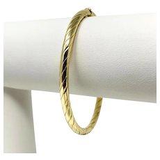 14k Yellow Gold Ribbed Polished Bangle Bracelet Italy 6.5 Inches