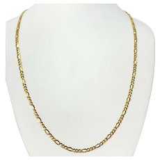14k Yellow Gold Solid 3.5mm Figaro Chain Necklace Italy 24 Inches