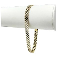 14k Yellow Gold 6.5mm Bismark Link 10.3g Chain Bracelet Italy 8.25 Inches