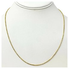 14k Yellow Gold Hollow Thin 1.5mm Diamond Cut Rope Chain Necklace 19 Inches