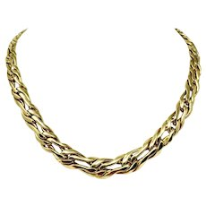 18k Yellow Gold 35g Graduated Modified Curb Fancy Link Necklace Italy 17.5""