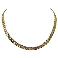 """18k Yellow Gold 21.2g Braided Weave Boston Link Chain Necklace Italy 16.5"""""""
