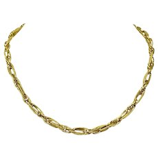 """18k Yellow Gold Hollow Light Fancy Triple Link Chain Necklace Italy 17"""""""