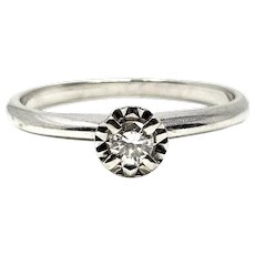14k White Gold Solitaire 3mm Diamond Engagement Ring Size 6