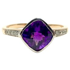 14k Yellow White Gold Two Tone Amethyst and Diamond Ring Size 9