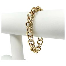 14k Yellow Gold 28.8g Double Circle Link Charm Style Bracelet 7.5 Inches