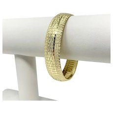 "14k Yellow Gold 21.9g Diamond Cut 14mm Omega Link Bracelet Italy 7.25"""