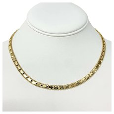 14k Yellow Gold Fancy Riccio Style Collar Link Chain Necklace 16 Inches
