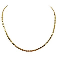 14k Yellow Gold Double Circle Heart Link Chain Necklace 18 Inches