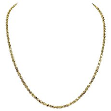 14k Yellow Gold Hollow 3mm Diamond Cut Rope Chain Necklace 20 Inches