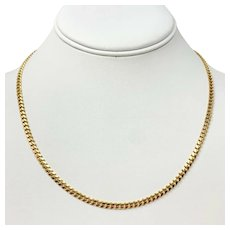 14k Yellow Gold Solid 14.2g Curb Link 3.5mm Chain Necklace 18 Inches