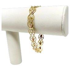 """10k Yellow Rose Gold Vintage Intricate Floral Black Hills Gold Bracelet 7"""""""
