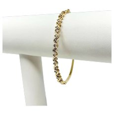 14k Yellow Gold 1.2ct Diamond Hinged Oval Bangle Bracelet 6.75 Inches