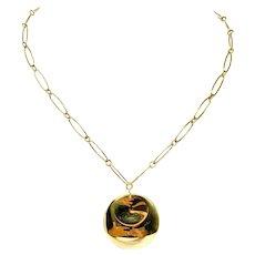 "Tiffany & Co. Elsa Peretti 18k Yellow Gold Round Pendant Necklace 16.5"""
