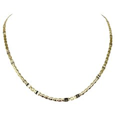 Marzi 18k Yellow White Gold Two Tone Fancy Flat Curb Chain Necklace Italy 19.5""
