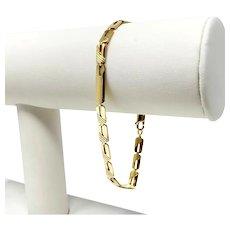 "18k Yellow Gold Fancy Diamond Cut Flat Rectangle Link Bracelet Italy 8"""