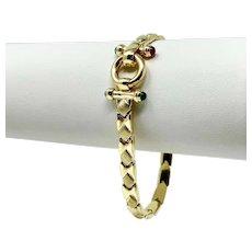 "14k Yellow Gold Fancy Link Tourmaline Ruby Topaz Link Bracelet Italy 7"""