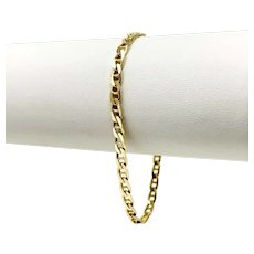 14k Yellow Gold 3.5mm Gucci Anchor Mariner Link Chain Bracelet Italy 7""