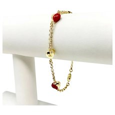 """14k Yellow Gold and Red Enamel Heart Cable Link Chain Bracelet Italy 7.25"""""""