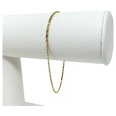 14k Yellow Gold Thin Light 1.5mm Diamond Cut Rope Bracelet 7 Inches