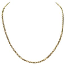 """14k Yellow White Gold 15.8g Two Tone Beaded Rope Chain Necklace 20"""""""