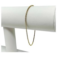 14k Yellow Gold Thin Light 1.5mm Rope Chain Bracelet 7.25 Inches