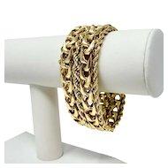 """14k Yellow Gold Heavy 70.7g Wide 28mm Fancy Curb Rope Link Bracelet 7.5"""""""
