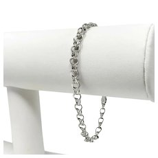 "14k White Gold Light Hollow 5mm Double Circle Link Charm Bracelet 7"""