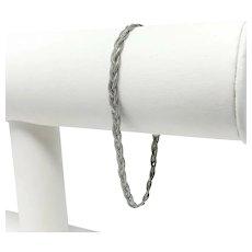 "14k White Gold Braided Weave Fancy Link Chain Bracelet Italy 7.25"""