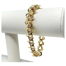 14k Yellow Gold 29g Fancy Heart Link Chain Bracelet 7.5 Inches
