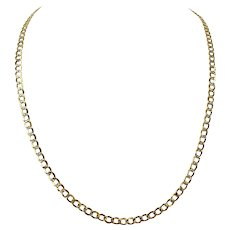 10k Yellow White Gold Two Tone Diamond Cut Hollow Curb Chain Necklace 24""