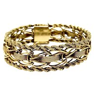 14k Yellow Gold Vintage 37.4g Rope and Fancy Link Chain Bracelet 7.5""