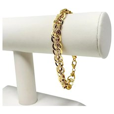 10k Yellow Gold Hollow Fancy Link Chain Bracelet Milor Italy 7.5""