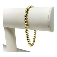 "14k Yellow Gold 5.5mm San Marco Macaroni Link Chain Bracelet Italy 7.5"""