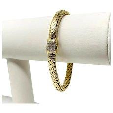 "18k Yellow Gold and Diamond Heavy 39.8g Fancy Mesh Weave Bracelet 7.25"""