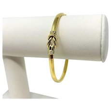 18k Yellow Gold Ribbed Fancy Design Bangle Bracelet Italy 7 Inches